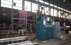 Термообработка замыкающего шва корпуса реактора.